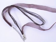 10 Organza Ribbon Necklace cord 13mm Brown 18 Inch